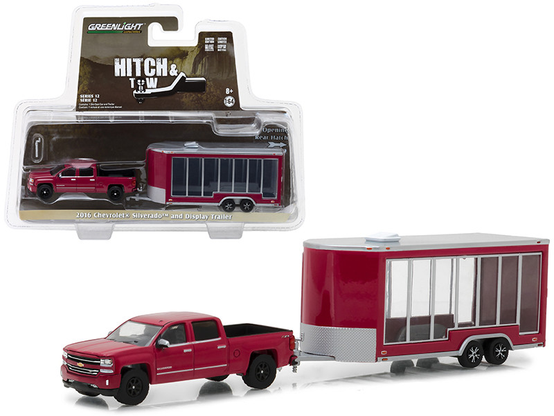 2016 Chevrolet Silverado Pickup Truck Red and Display Trailer Hitch & Tow Series 12 1/64 Diecast Car Model Greenlight 32120 B