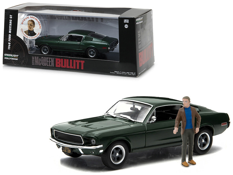 1968 Ford Mustang GT Fastback Green Bullitt Movie 1968 with Figurine 1/43 Diecast Model Car Greenlight 86433