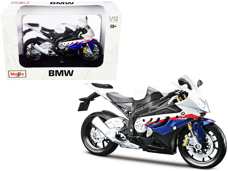 BMW S 1000 RR White Blue Red Stripes Plastic Display Stand 1/12 Diecast Motorcycle Model Maisto 32702