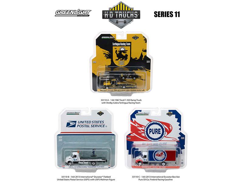 Heavy Duty Trucks Set of 3 HD Trucks Series 11 1/64 Diecast Models  Greenlight 33110 A B C