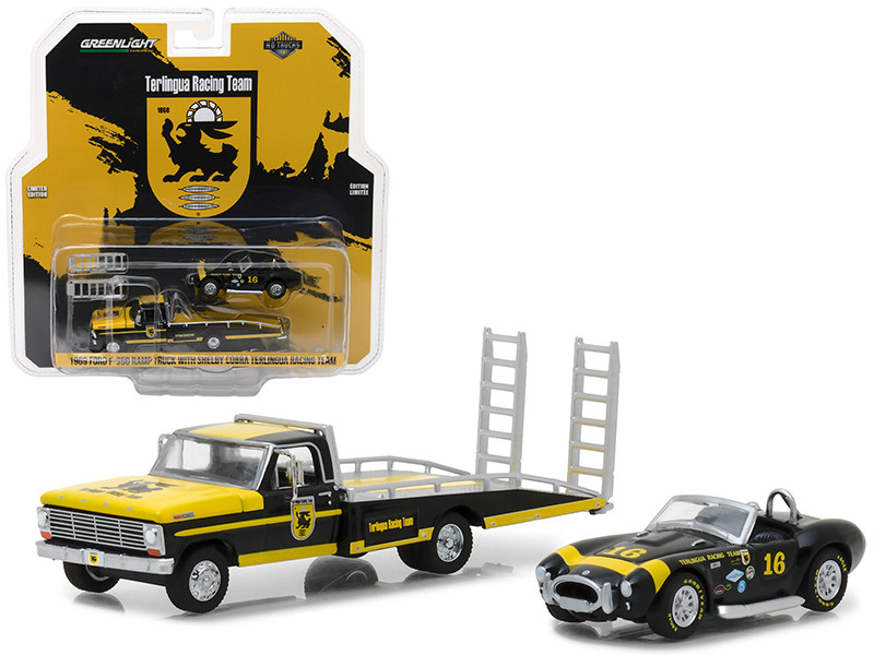 1969 Ford F 350 Ramp Truck with Shelby Cobra Terlingua Racing Team #16 HD Trucks Series 11 1/64 Diecast Models Greenlight 33110 A