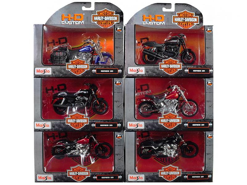 Harley Davidson Motorcycle 6pc Set Series 35 1/18 Diecast Models Maisto 31360-35