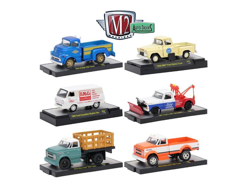 Auto Trucks 6 Piece Set Release 46 IN DISPLAY CASES 1/64 Diecast Model Cars M2 Machines 32500-46