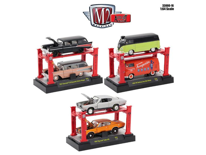Auto Lift Series 16, 6pc Set 1/64 Diecast Model Cars by M2 Machines