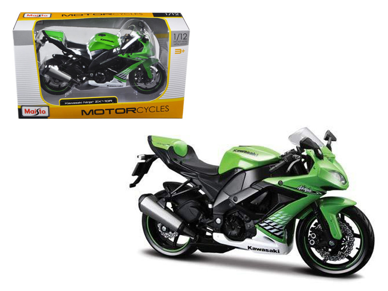 2010 Kawasaki Ninja ZX-10R Green Bike 1/12 Motorcycle Model Maisto 31187