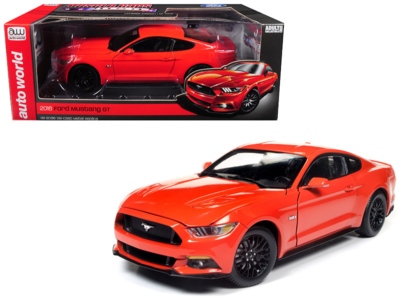 2016 Ford Mustang GT 5.0 Coupe Competition Orange Limited Edition to 1002 pieces 1/18 Diecast Model Car Autoworld AW242
