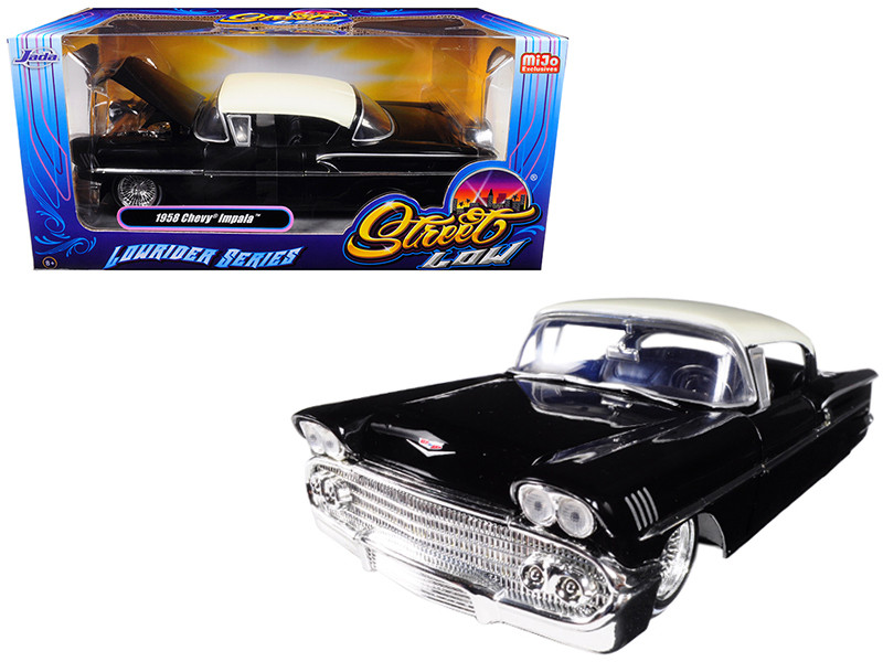1958 Chevrolet Impala Black Lowrider Series Street Low 1/24 Diecast Model Car Jada 98919