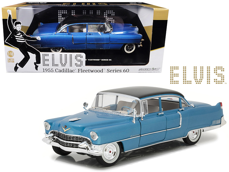 Elvis Presley's 1955 Cadillac Fleetwood Series 60 Special Blue 1/18 Diecast Car Model Greenlight 13502