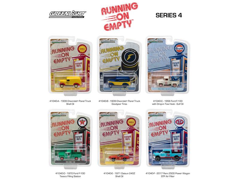Running on Empty Series 4 6pc Set 1/64 Diecast Model Cars Greenlight 41040