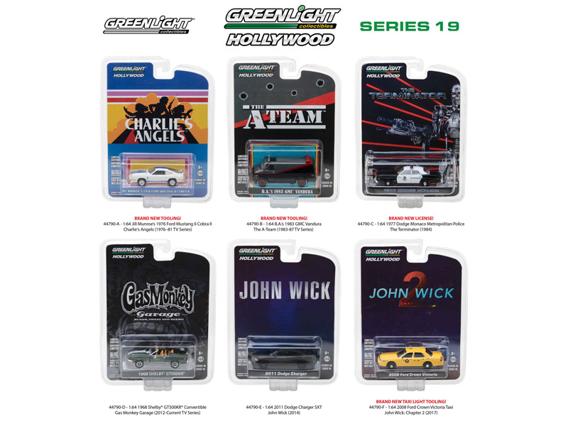 Hollywood Series Release 19 6pc Set 1/64 Diecast Model Cars Greenlight 44790