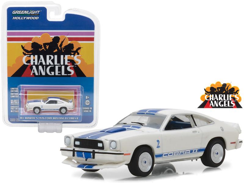Jil Munroe's Ford Mustang II Cobra II White Charlie's Angels 1976-1981 TV Series Hollywood Series 19 1/64 Diecast Model Car Greenlight 44790 A