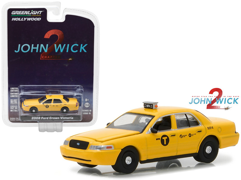 2008 Ford Crown Victoria New York City Taxi John Wick Chapter:2 Movie 2017 Hollywood Series 19 1/64 Diecast Model Car Greenlight 44790 F