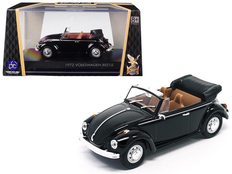 1972 Volkswagen Beetle Open Top Convertible Black 1/43 Diecast Model Car Road Signature 43220