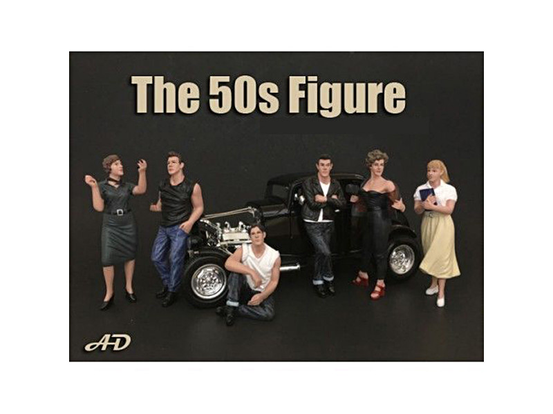 50's Style 6 Piece Figure Set for 1:18 Scale Models American Diorama 38151 38152 38153 38154 38155 38158