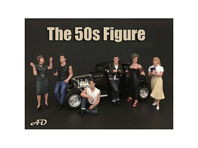 50's Style 6 Piece Figure Set for 1:24 Scale Models American Diorama 38251 38252 38253 38254 38255 38258