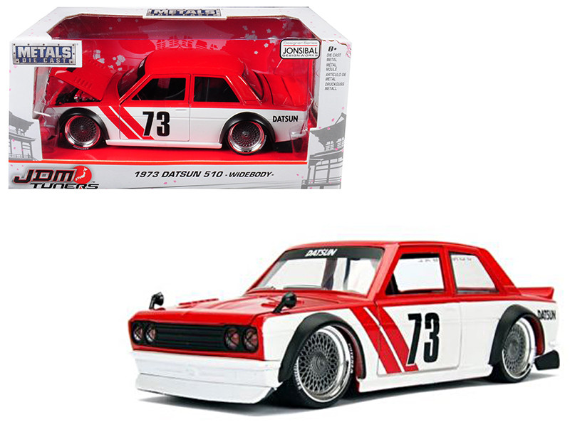 1973 Datsun 510 Widebody #73 Red JDM Tuners 1/24 Diecast Model Car Jada 99097