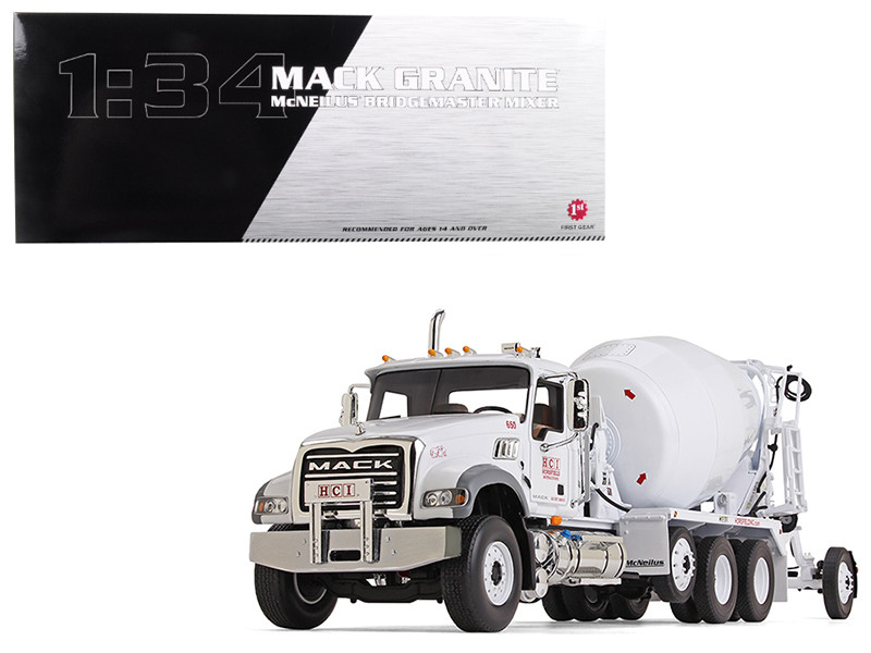 Mack Granite With McNeilus Bridgemaster Concrete Mixer White Horsfield Construction (HCI) 1/34 Diecast Model by First Gear