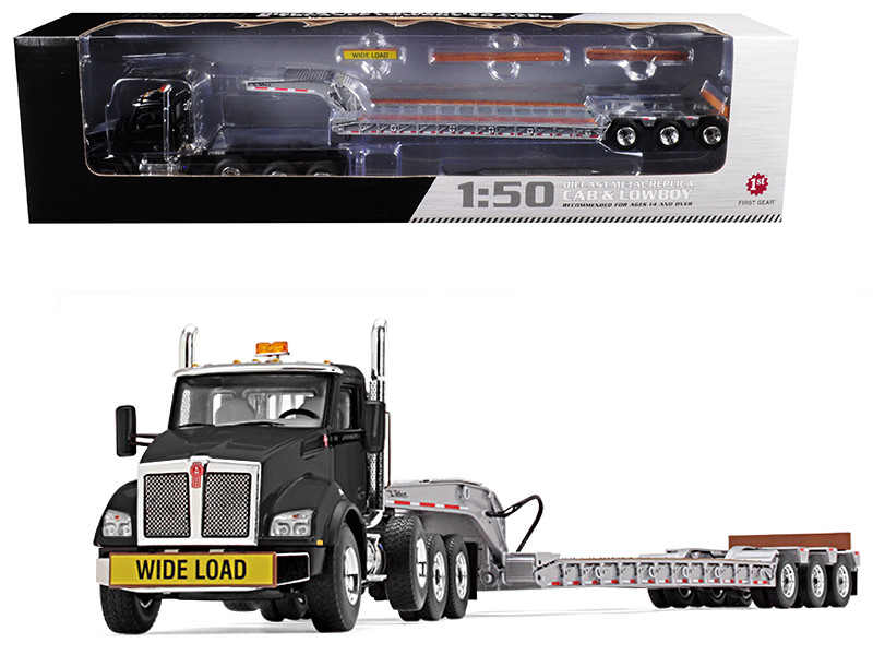 Kenworth T880 Tri Axle Lowboy Trailer Black Silver 1/50 Diecast Model First Gear 50-3391