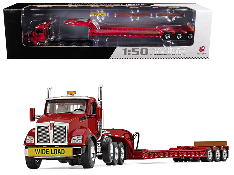 Kenworth T880 Tri Axle Lowboy Trailer Red 1/50 Diecast Model First Gear 50-3392
