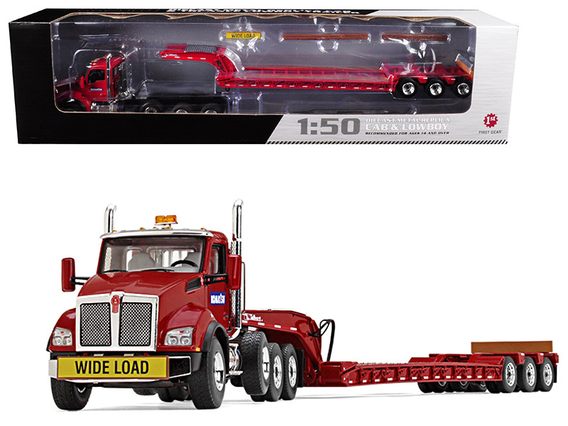 Komatsu Kenworth T880 Tri Axle Lowboy Trailer Red 1/50 Diecast Model First Gear 50-3392 A