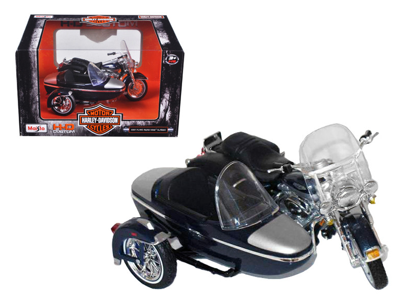 2001 Harley Davidson FLHRC Road King Classic with Side Car Black Motorcycle Model 1/18 Diecast Model Maisto 76200