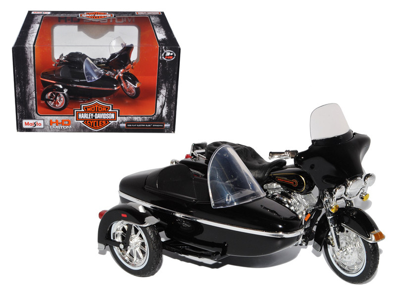 1998 Harley Davidson FLHT Electra Glide Standard with Side Car Black Motorcycle Model 1/18 Diecast Maisto 76400