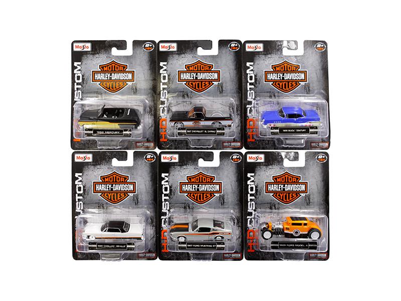 Harley Davidson Assortment Wave 2 6 Cars Set 1/64 Diecast Model Cars Maisto 15380-W2
