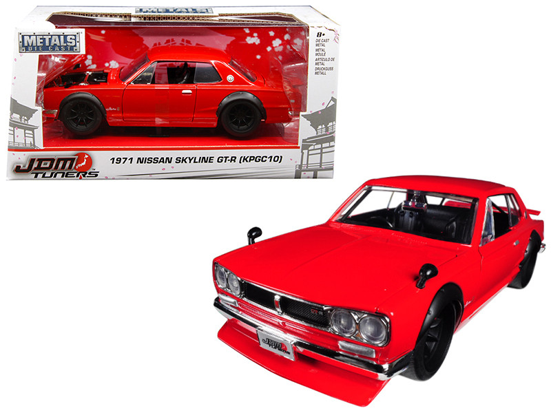 1971 Nissan Skyline GT-R Red KPGC10 JDM Tuners 1/24 Diecast Model Car Jada 30004