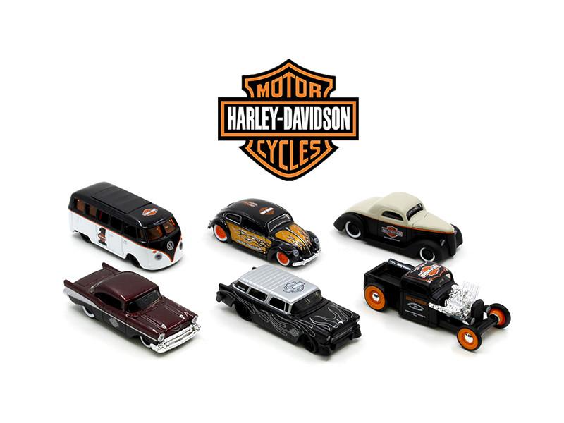 Harley Davidson Assortment Wave 1 6 Cars Set 1/64 Diecast Model Cars Maisto 15380-W1