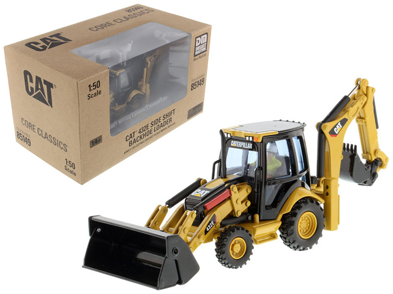 CAT Caterpillar 432E Side Shift Backhoe Loader with Operator Core Classics Series 1/50 Diecast Model Diecast Masters 85149 C