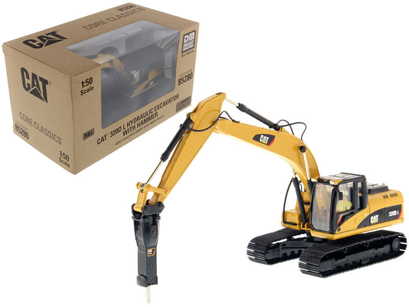 CAT Caterpillar 330D L Hydraulic Excavator with Hammer Core Classics Series with Operator 1/50 Diecast Model Diecast Masters 85280 C