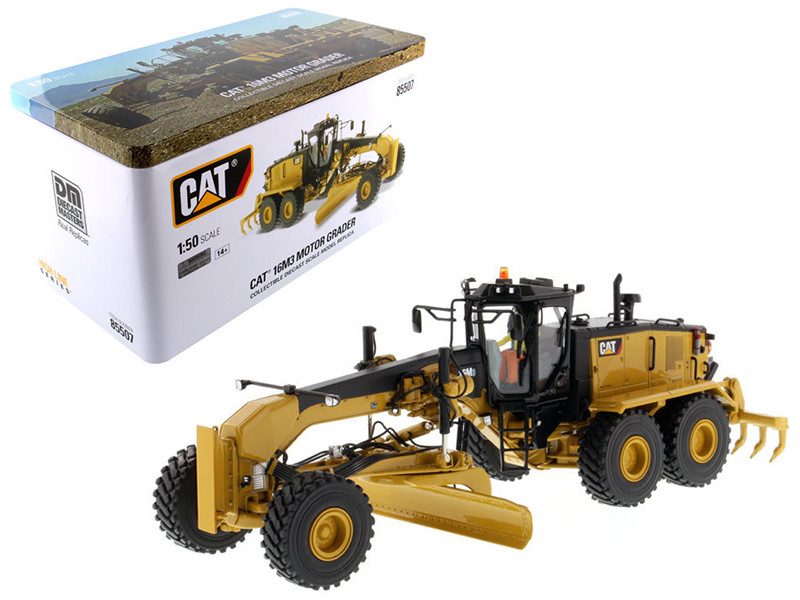 CAT Caterpillar 16M3 Motor Grader with Operator High Line Series 1/50 Diecast Model Diecast Masters 85507