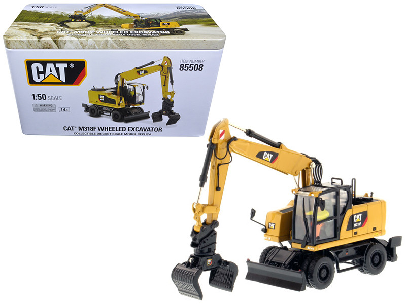 CAT Caterpillar M318F Wheeled Excavator with Operator High Line Series 1/50 Diecast Model Diecast Masters 85508