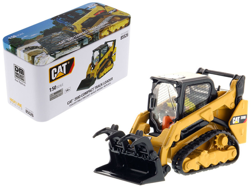 CAT Caterpillar 259D Compact Track Loader with Operator and Tools High Line Series 1/50 Diecast Model Diecast Masters 85526