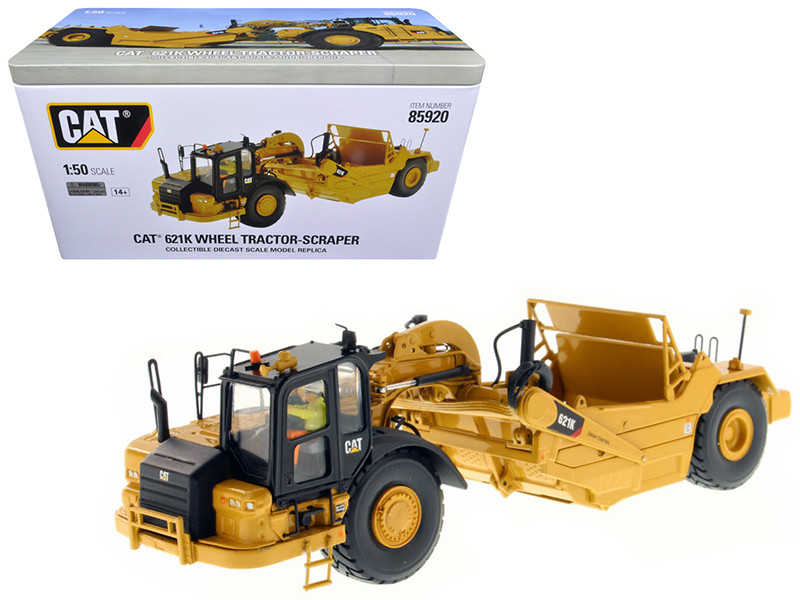 CAT Caterpillar 621K Wheel Tractor Scraper with Operator High Line Series 1/50 Diecast Model Diecast Masters 85920