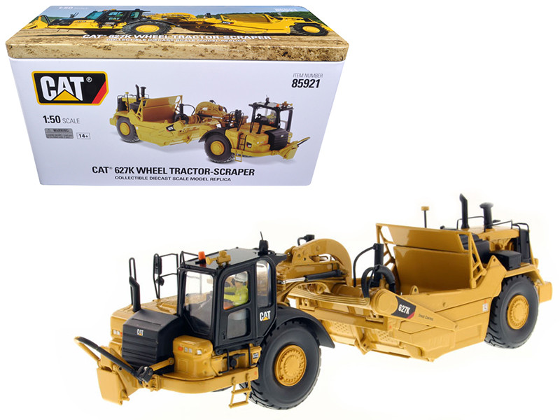 CAT Caterpillar 627K Wheel Tractor Scraper with Operator High Line Series 1/50 Diecast Model Diecast Masters 85921