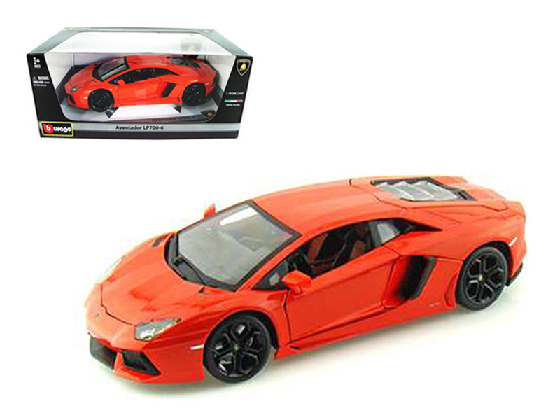 2012 Lamborghini Aventador LP700-4 Orange 1/18 Diecast Model Car Bburago 11033