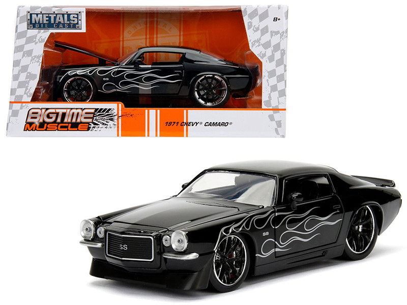 1971 Chevrolet Camaro SS Black with Flames 1/24 Diecast Model Car Jada 99970