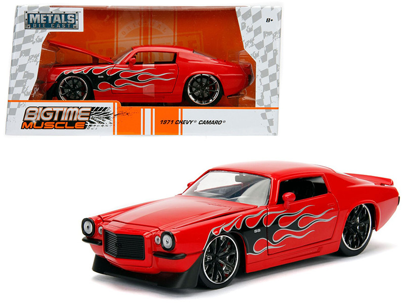 1971 Chevrolet Camaro SS Red with Flames 1/24 Diecast Model Car Jada 99969