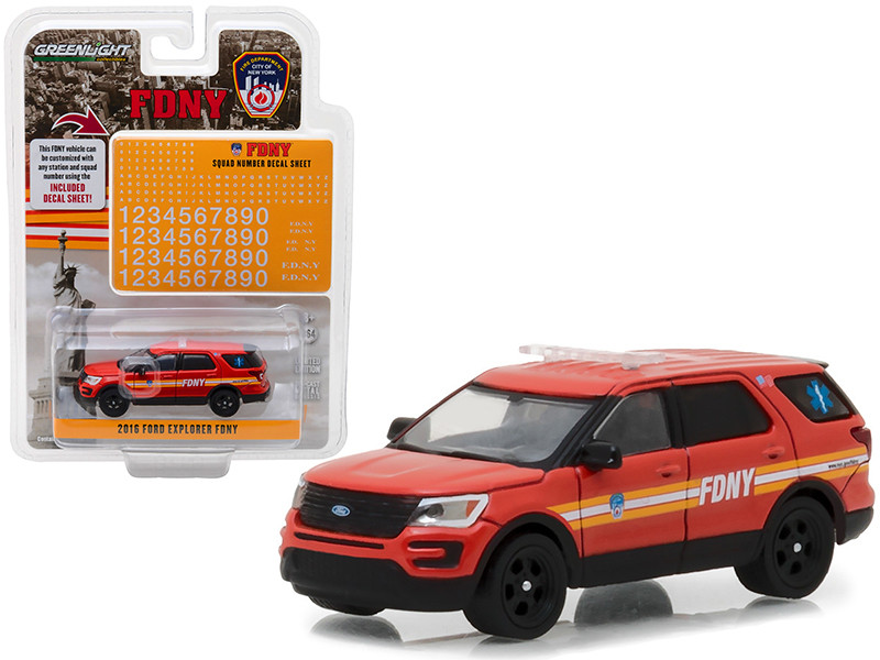 2016 Ford Explorer Fire Department City of New York FDNY with FDNY Squad Number Decal Sheet Hobby Exclusive 1/64 Diecast Model Car Greenlight 42823