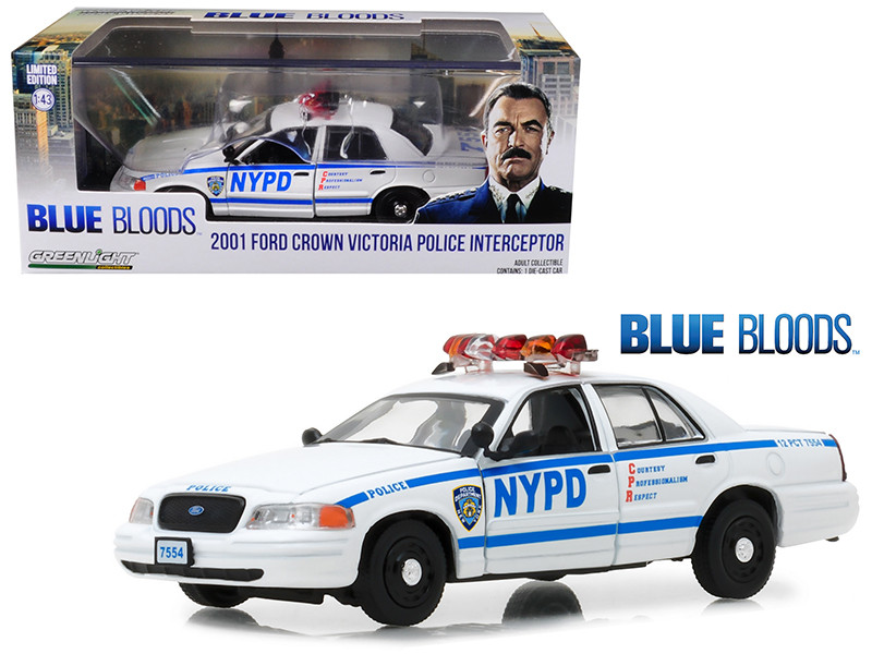 2001 Ford Crown Victoria Police Interceptor NYPD from Blue Bloods 2010 TV Series 1/43 Diecast Model Car Greenlight 86519