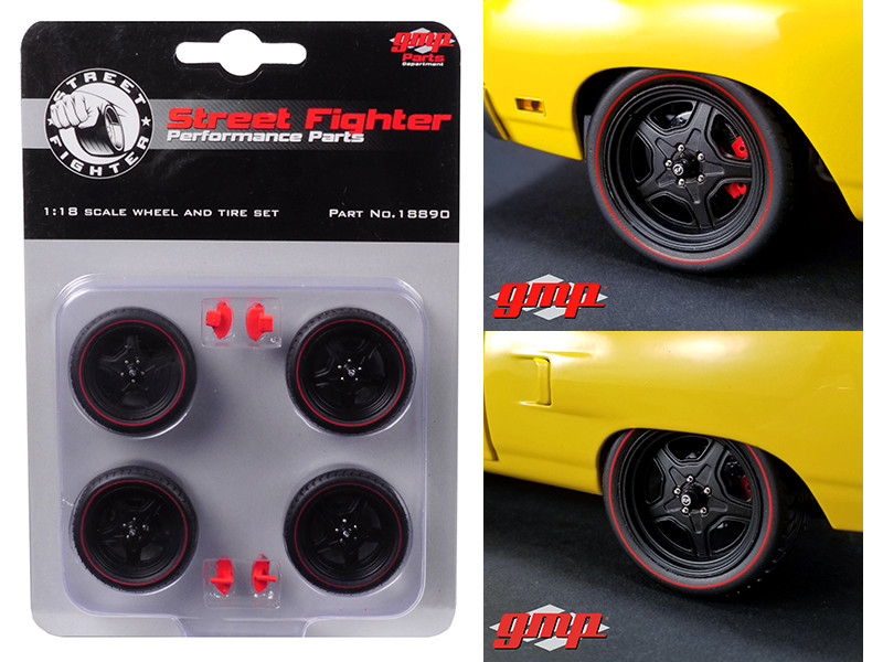 5-Spoke Wheel and Tire Set of 4 from 1970 Plymouth Road Runner Street Fighter 6-Pack Attack 1/18 GMP 18890