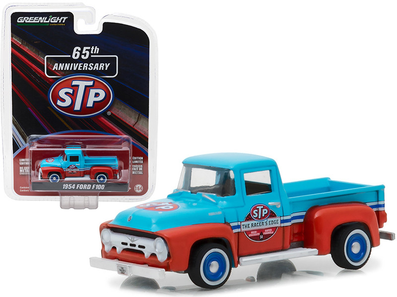 1954 Ford F-100 Truck Blue and Orange STP 65th Anniversary Anniversary Collection Series 6 1/64 Diecast Model Car by Greenlight 27940 A