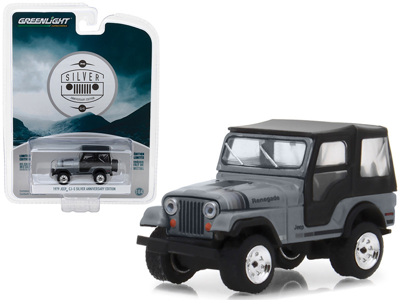 1979 Jeep CJ-5 Gray with Black Top Silver Anniversary Edition Anniversary Collection Series 6 1/64 Diecast Model Car Greenlight 27940 C