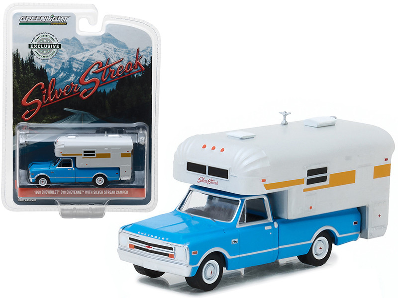 1968 Chevrolet C10 Cheyenne Blue with Silver Streak Camper Hobby Exclusive 1/64 Diecast Model Car by Greenlight 29922