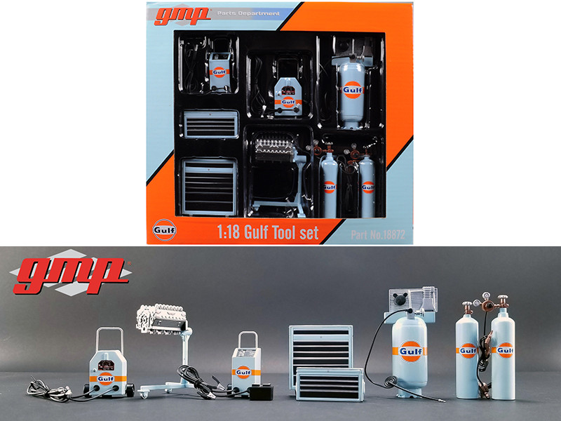 Garage Shop Tools Gulf Oil Set of 6 pieces 1/18 Diecast Replica GMP 18872