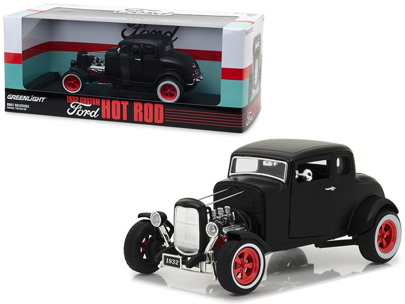 1932 Ford Custom Hot Rod Matt Black 1/18 Diecast Car Model Greenlight 12975