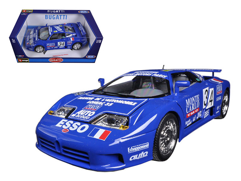 Bugatti EB110 Super Sport #34 Alain Cudini Eric Helary Jean-Christophe Boullion Monte Carlo TMC Michel Hommell Team 24 Hours of Le Mans 1994 1/18 Diecast Model Car Bburago 11039