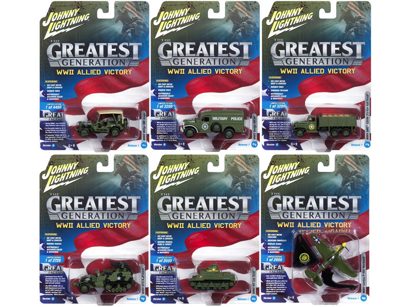 The Greatest Generation Military Release 1 Set A of 6 1/64 1/87 1/100 1/144 Diecast Models Johnny Lightning JLML001 A