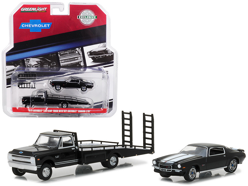 1970 Chevrolet C-30 Ramp Truck and 1971 Chevrolet Camaro Z/28 Black Hobby Exclusive 1/64 Diecast Models Greenlight 29935